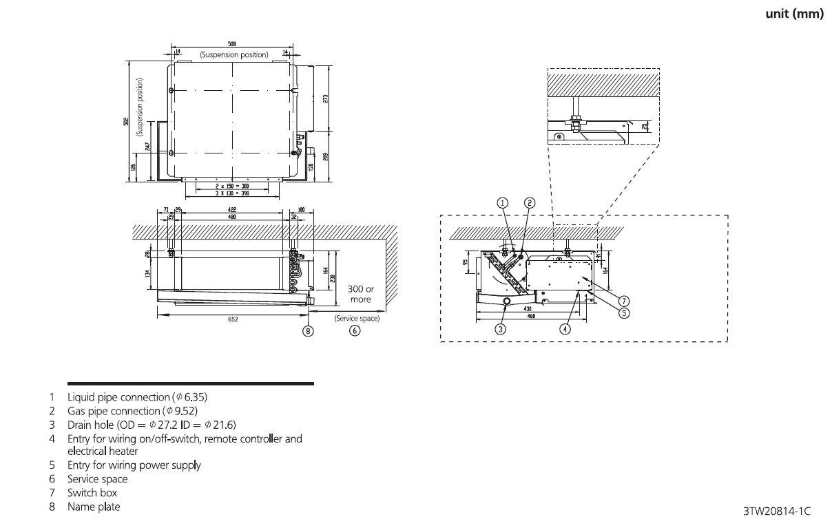 hight resolution of daikin slim ducted air conditioning unit inverter heat pump fdxs60f 6kw 20000 btu a 240v